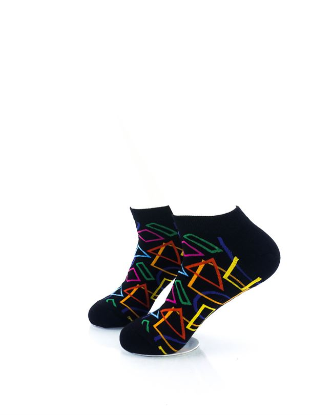 CoolDeSocks Colourful Geometry Ankle Socks left view image