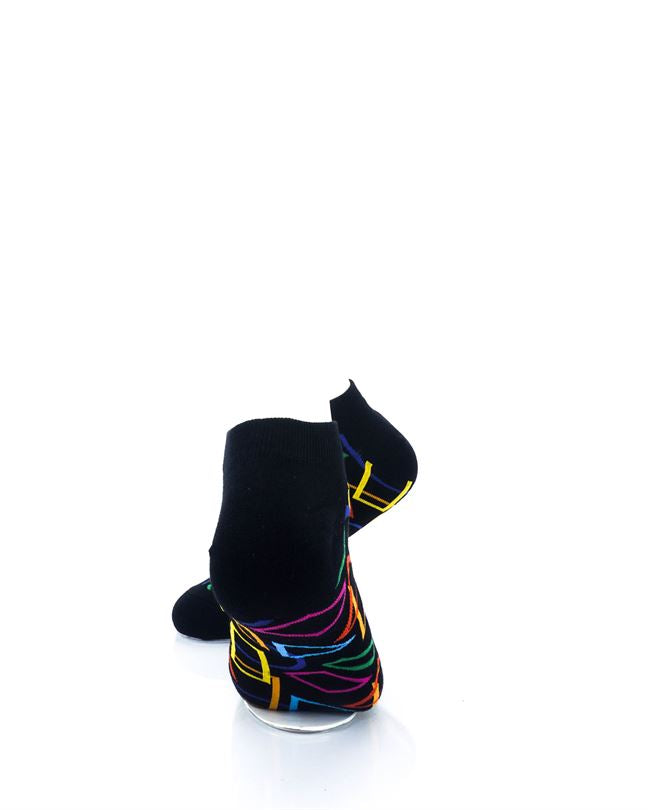 CoolDeSocks Colourful Geometry Ankle Socks rear view image