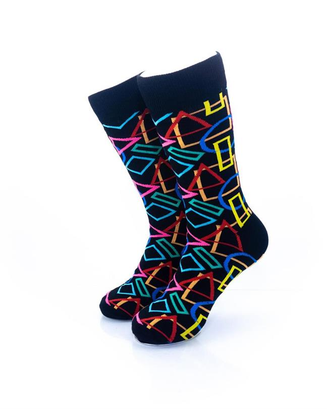 cooldesocks colurful geometry crew socks front view