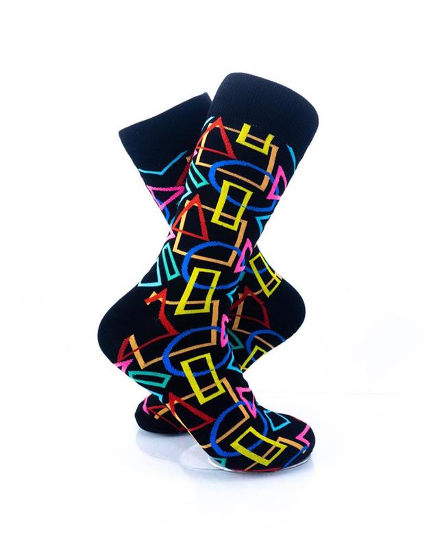 cooldesocks colurful geometry crew socks right view