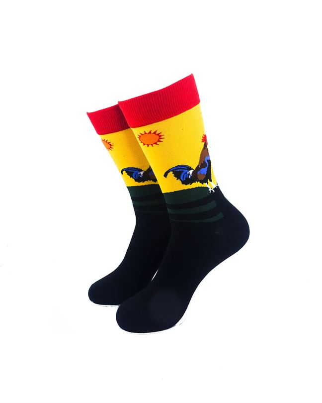 CoolDeSocks Crowing Rooster Socks front view image