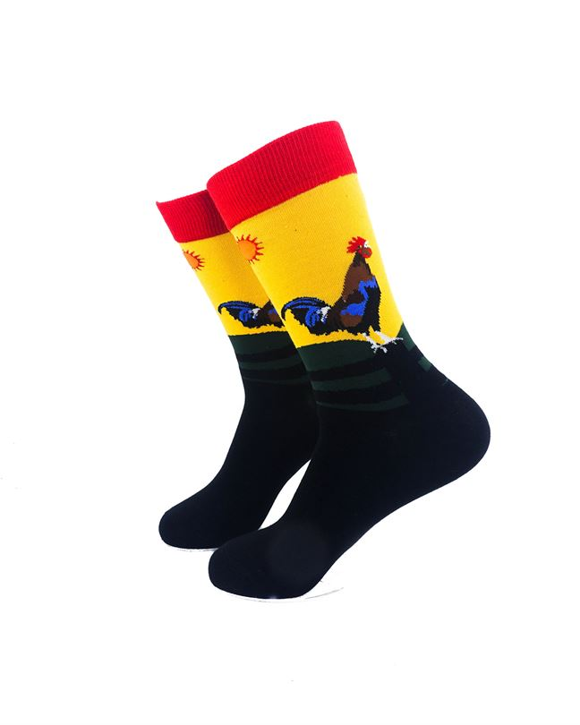 CoolDeSocks Crowing Rooster Socks left view image