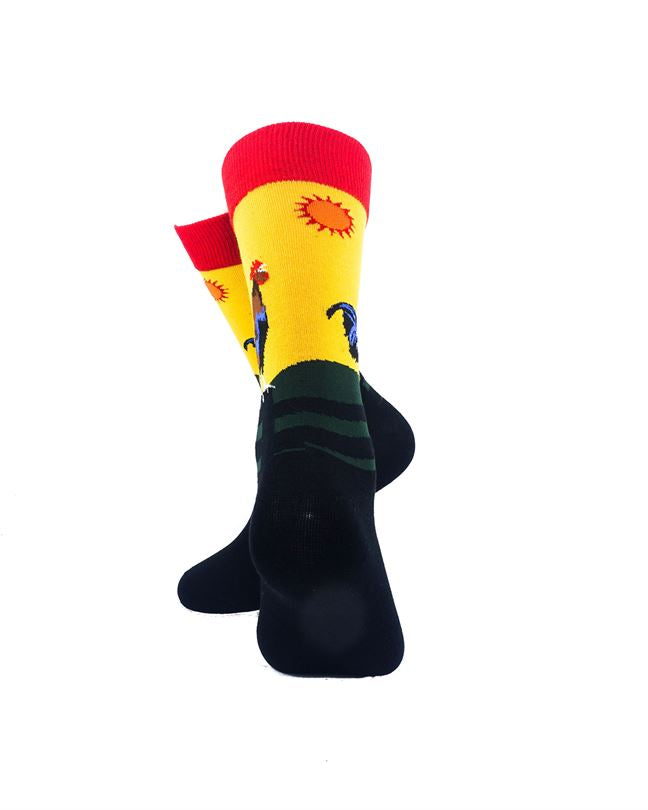 CoolDeSocks Crowing Rooster Socks rear view image