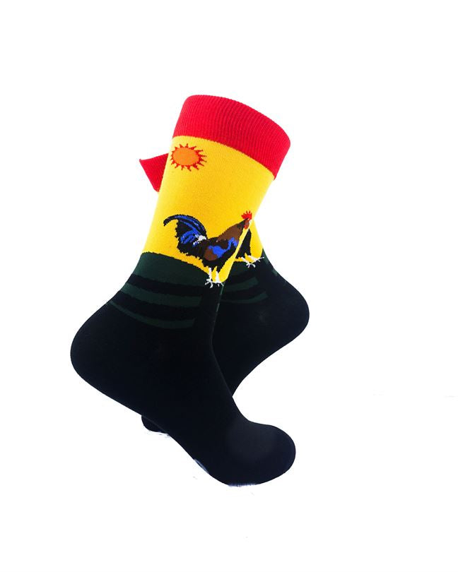 CoolDeSocks Crowing Rooster Socks right view image