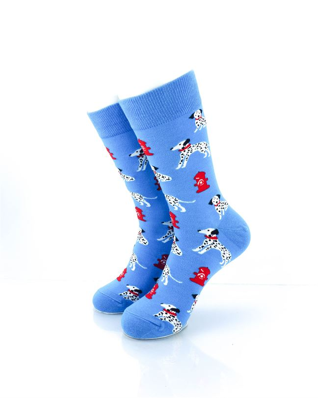 CoolDeSocks Dalmatians Fire Dog Crew Socks front view image