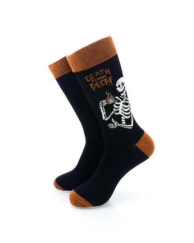 CoolDeSocks Death Before Decaf Crew Socks front view image