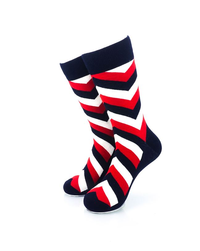 cooldesocks diagonal striped red black crew socks front view