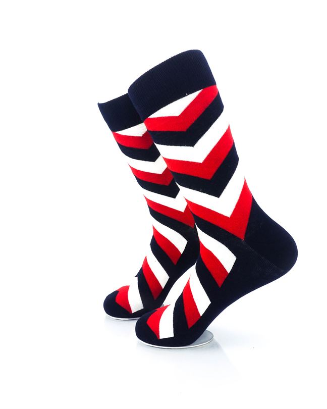 cooldesocks diagonal striped red black crew socks left view