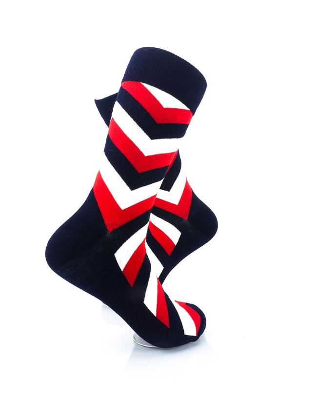 cooldesocks diagonal striped red black crew socks right view