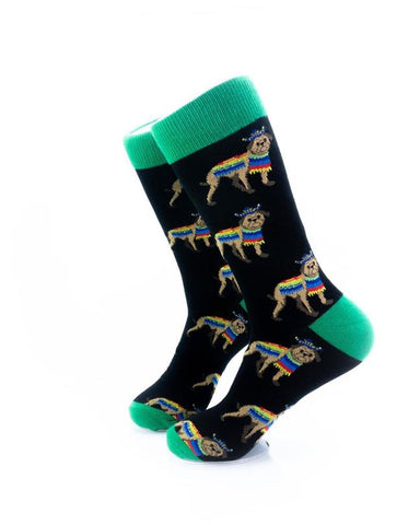 CoolDeSocks Dog Poncho Green Socks left view image