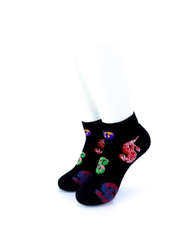 CoolDeSocks Dollars Black Socks front view image