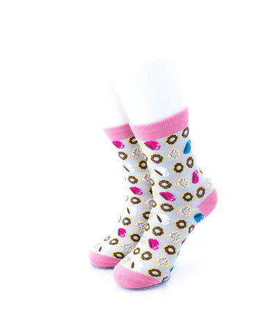 cooldesocks donut and coffee quarter socks front view