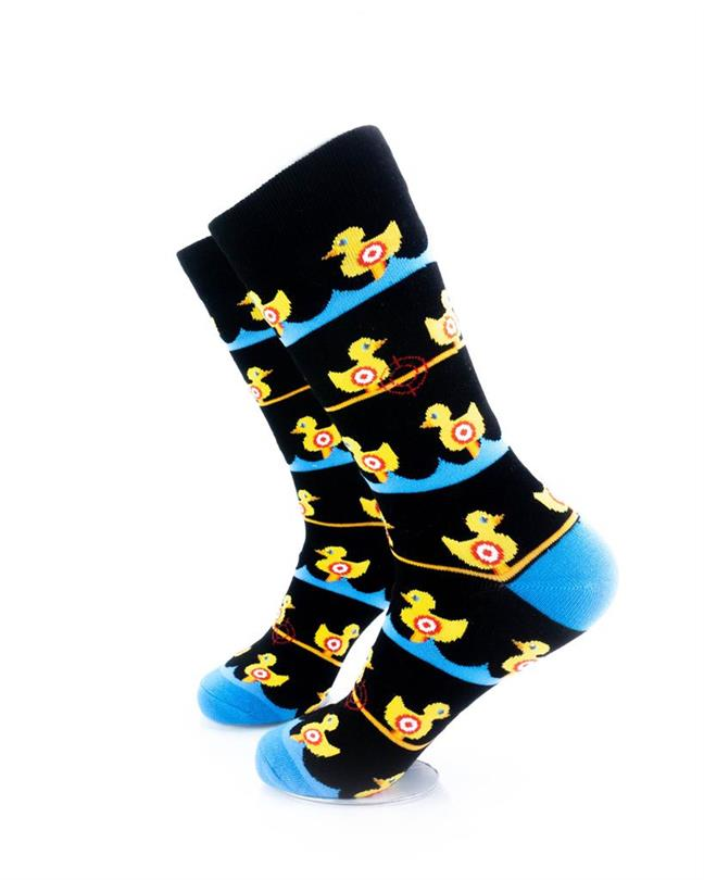 CoolDeSocks Duck Carnival - Black Socks left view image
