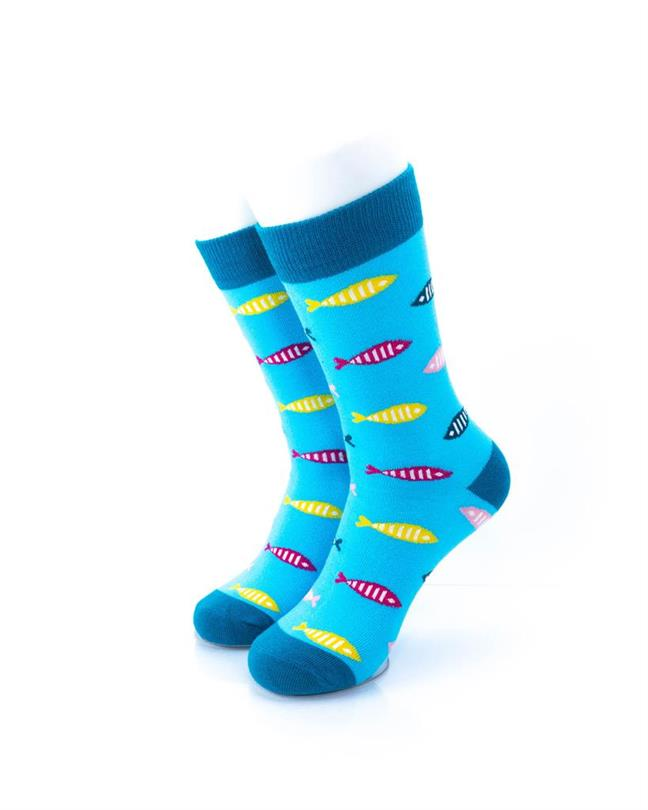 cooldesocks fish print crew socks front view