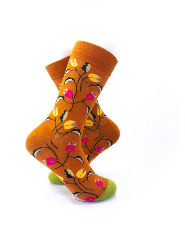 cooldesocks flowers mandevilla vine crew socks right view