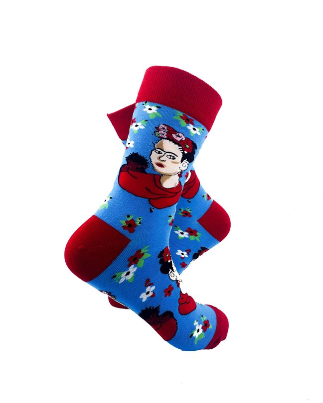 cooldesocks frida kahlo blue crew socks right view