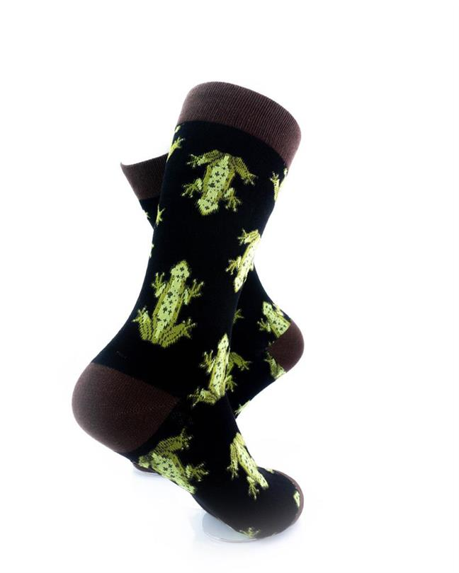 CoolDeSocks Frog Print Socks right view image