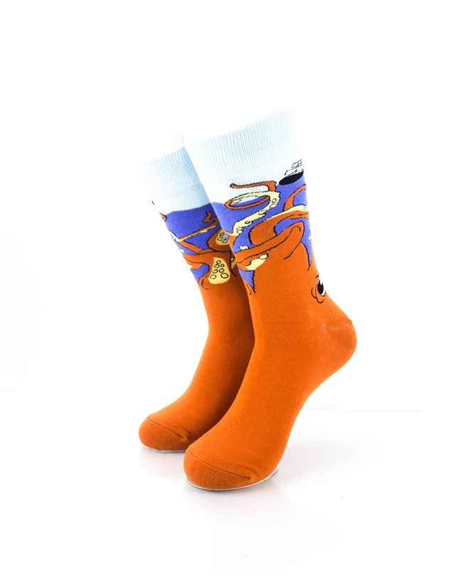 CoolDeSocks Gigantic Octopus Crew Socks front view image