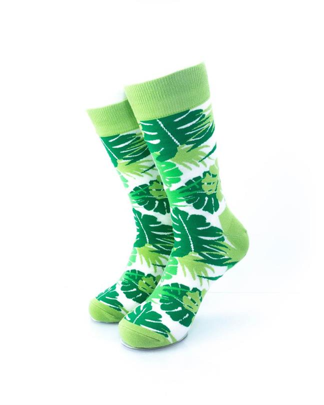 CoolDeSocks Green Leaves Socks front view image