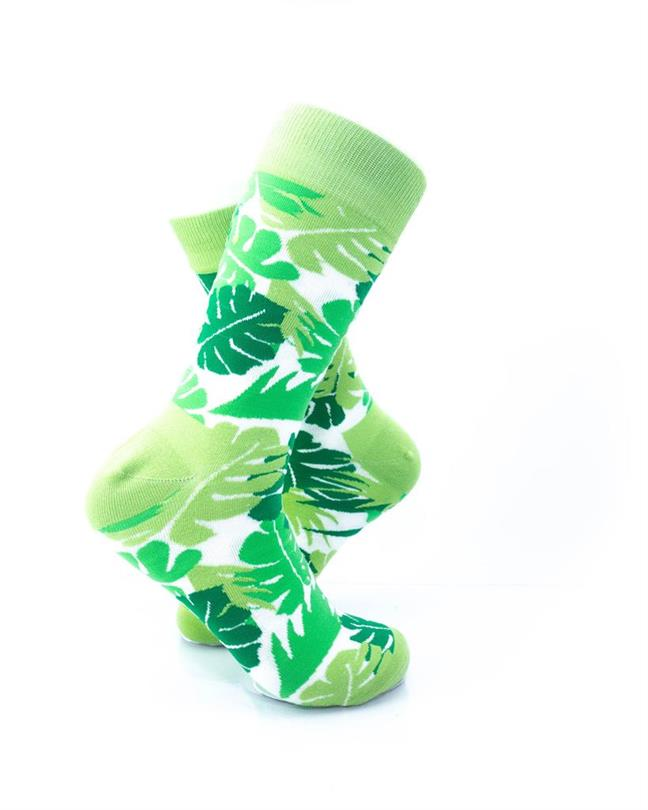CoolDeSocks Green Leaves Socks right view image