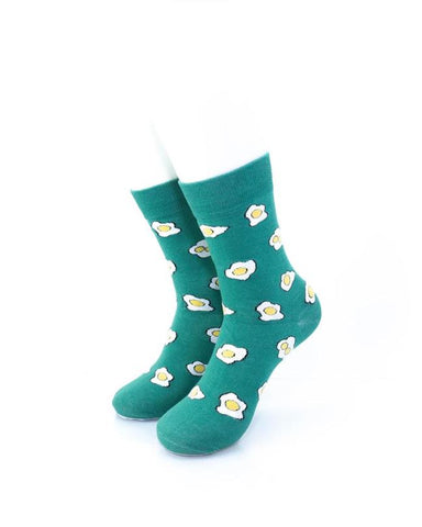 CoolDeSocks Green Sunny Side Up Socks front view image