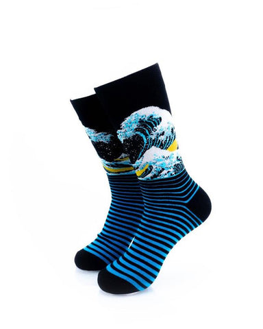 CoolDeSocks Hokusai Great Waves (C) Socks front view image