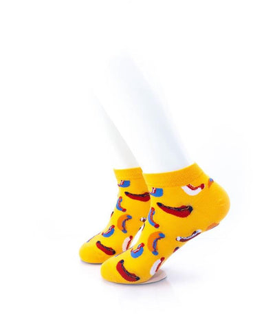 cooldesocks hot dogs in yellow ankle socks left view