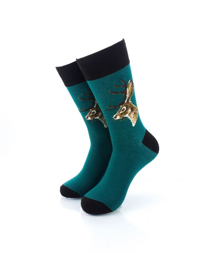 CoolDeSocks Jackalope Green Crew Socks front view image