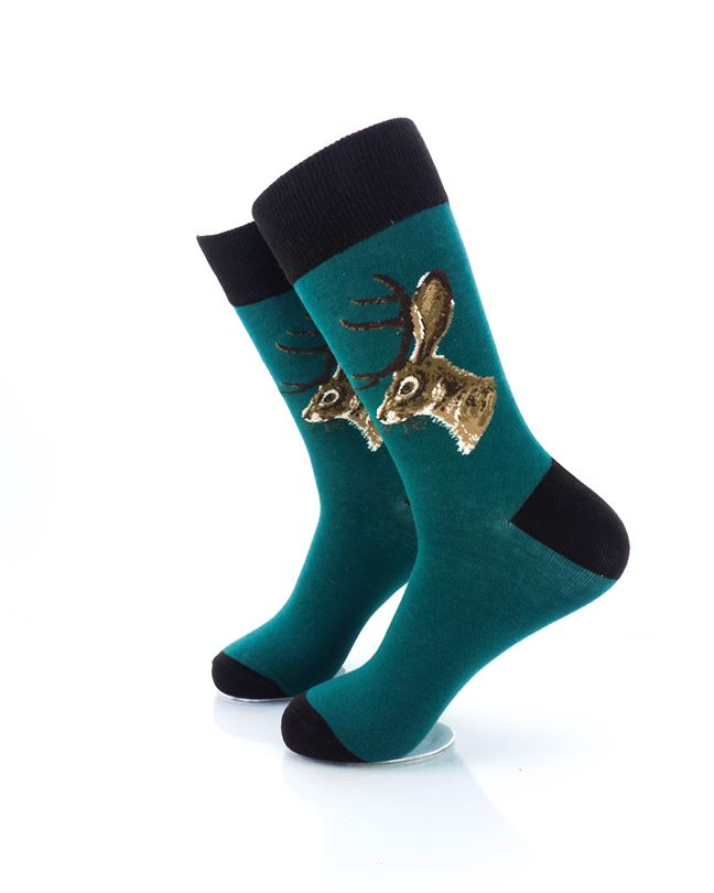 CoolDeSocks Jackalope Green Crew Socks left view image