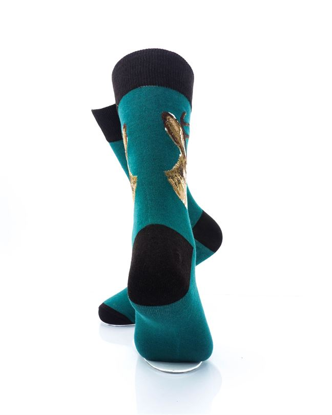 CoolDeSocks Jackalope Green Crew Socks rear view image