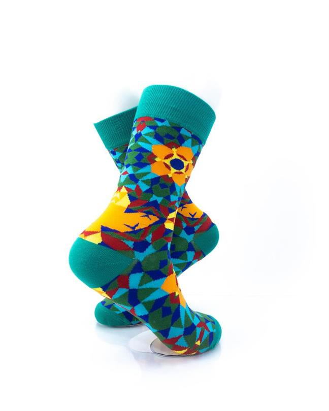 CoolDeSocks Kaleidoscope Green Socks right view image