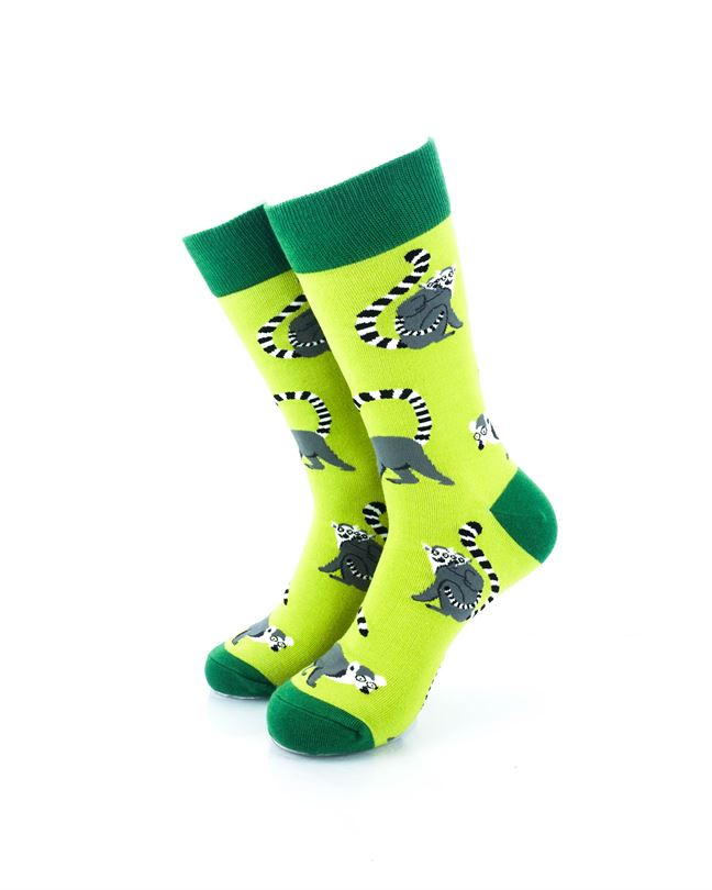 cooldesocks lemurs green crew socks front view