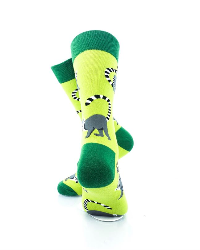 cooldesocks lemurs green crew socks rear view