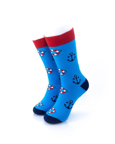 CoolDeSocks Lifebuoy and Anchor Socks front view image