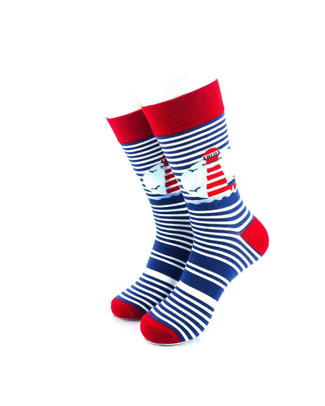 cooldesocks lighthouse blue stripes crew socks front view image