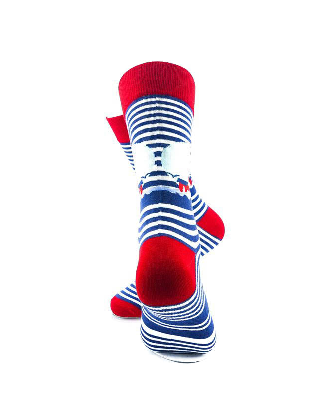 cooldesocks lighthouse blue stripes crew socks rear view image