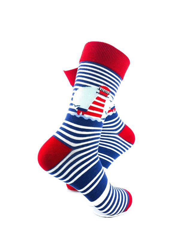 cooldesocks lighthouse blue stripes crew socks right view image