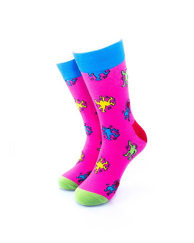 cooldesocks love party pink crew socks front view