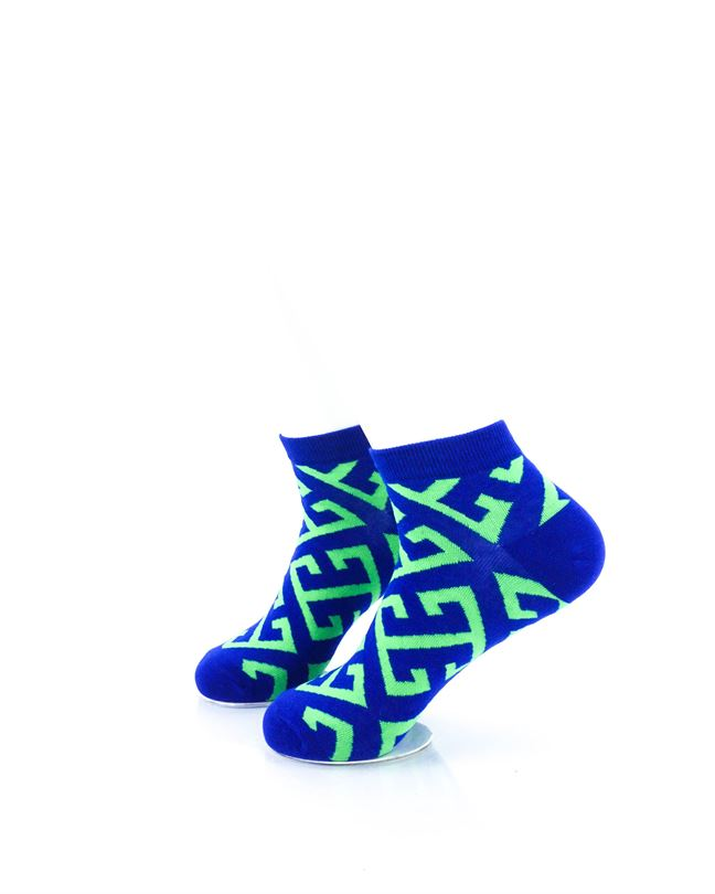 CoolDeSocks Maze Blue Green Ankle Socks left view image