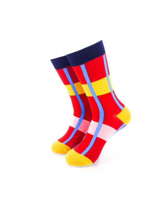CoolDeSocks Modern Abstract - Red Socks Front View Image