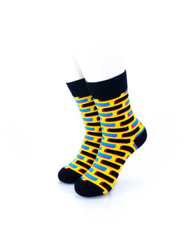 CoolDeSocks Neon Brick Wall Socks front view image