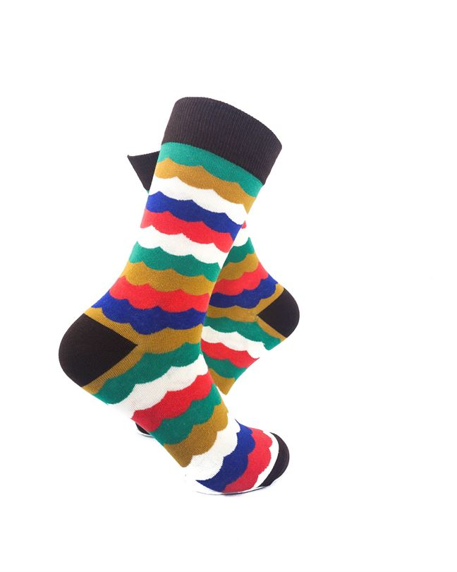 CoolDeSocks Old School Lace Crew Socks right view image