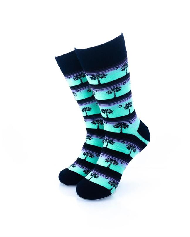 cooldesocks old school palm stripes crew socks front view