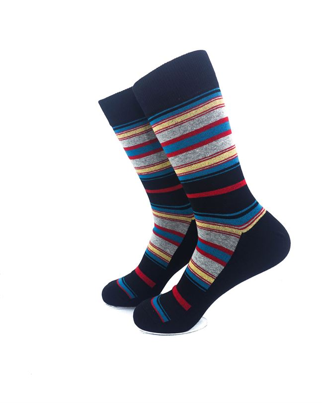 CoolDeSocks Stripes on Black Socks left view image