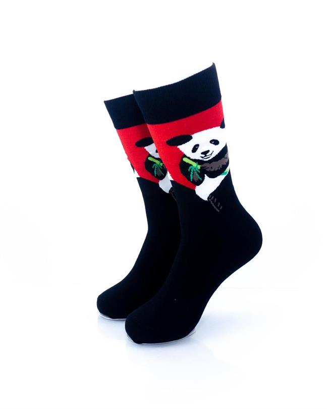 CoolDeSocks Panda Eating Bamboo Socks front view image