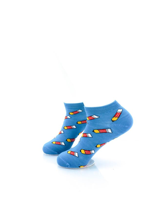 CoolDeSocks Pencils Blue Liner Socks left view image