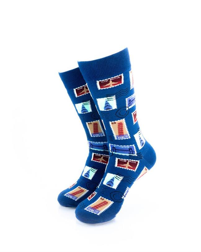 CoolDeSocks Philately - Blue Socks front view image