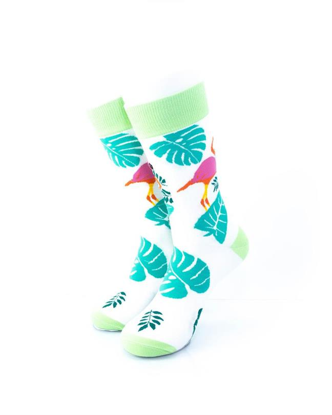 CoolDeSocks Pink Flamingo Leaves Socks front view image
