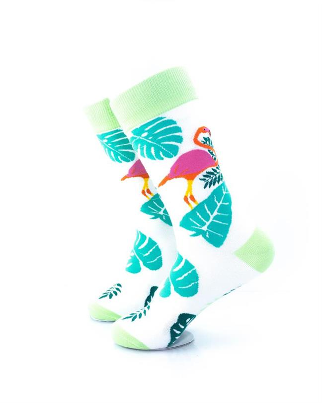 CoolDeSocks Pink Flamingo Leaves Socks left view image