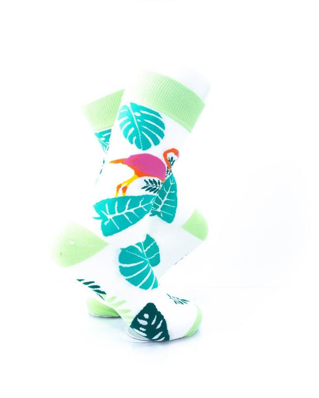 CoolDeSocks Pink Flamingo Leaves Socks right view image